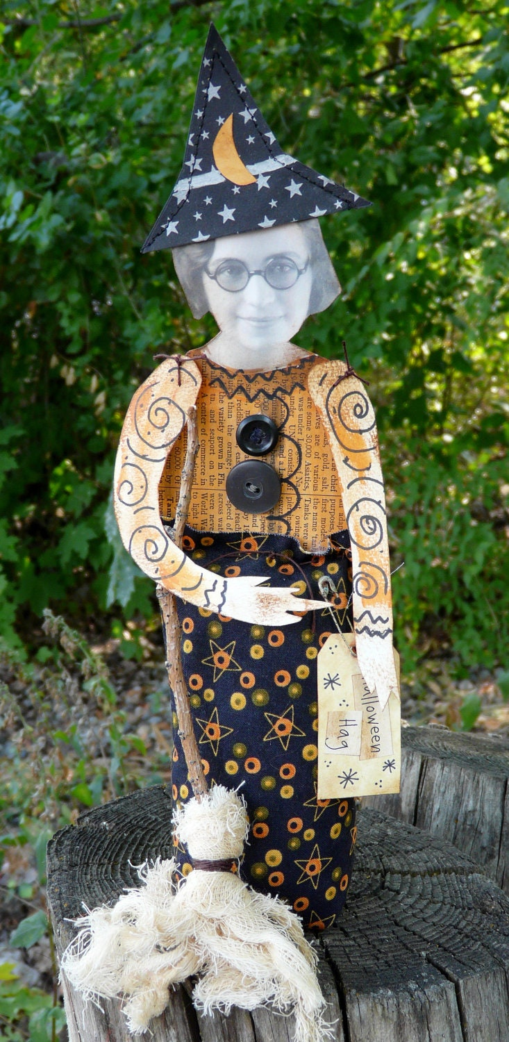 Halloween Witch Doll- folk art paper fabric altered art tag old photo
