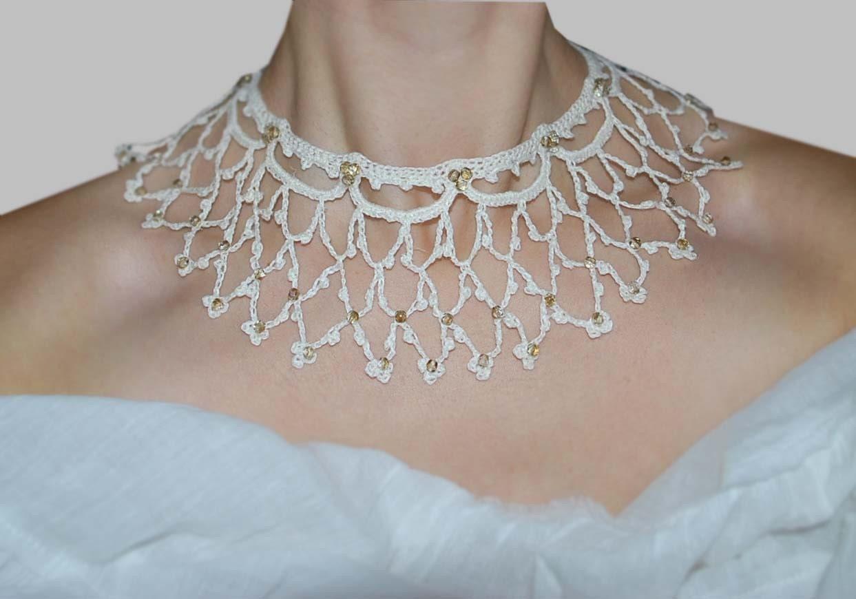 Delicate Linen Lace Necklace. Amanda.