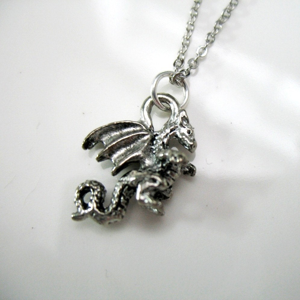 CLEARANCE - Fantasy Dragon Charm Necklace.