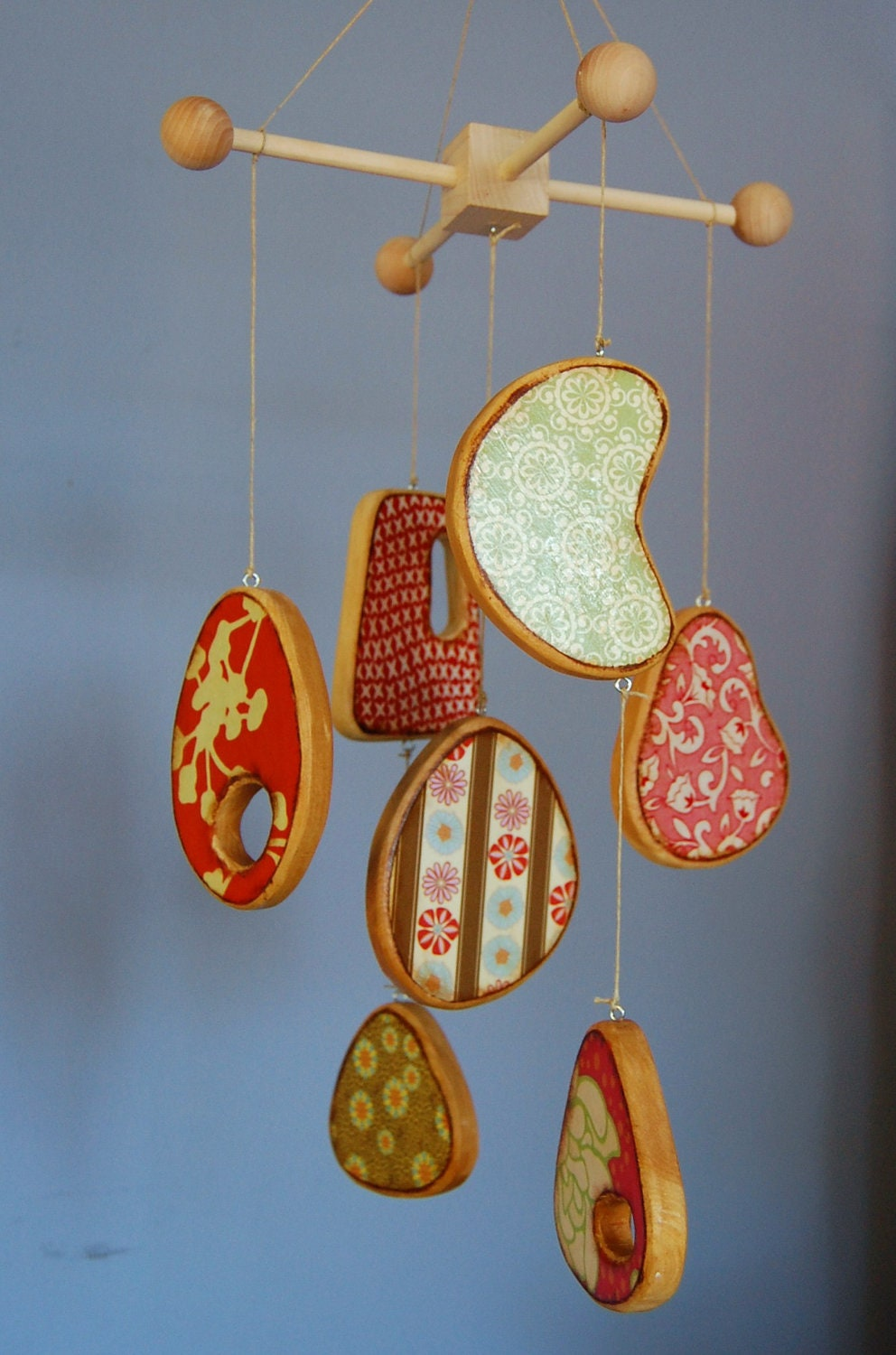Items similar to baby crib mobile modern wood mobile with designer fabric and paper colorful - Designer babymobel ...