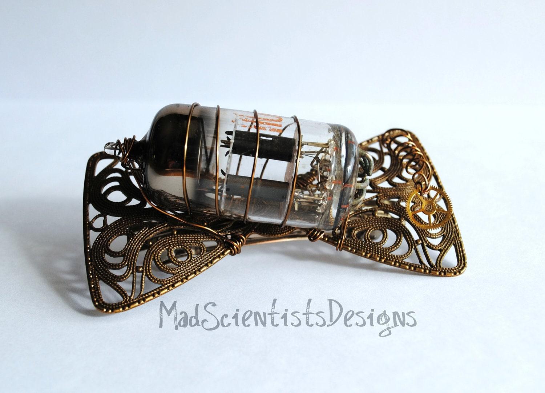 Steampunk Vintage Vacuum Tube Barrette 001 Brass by MadScientistsDesigns