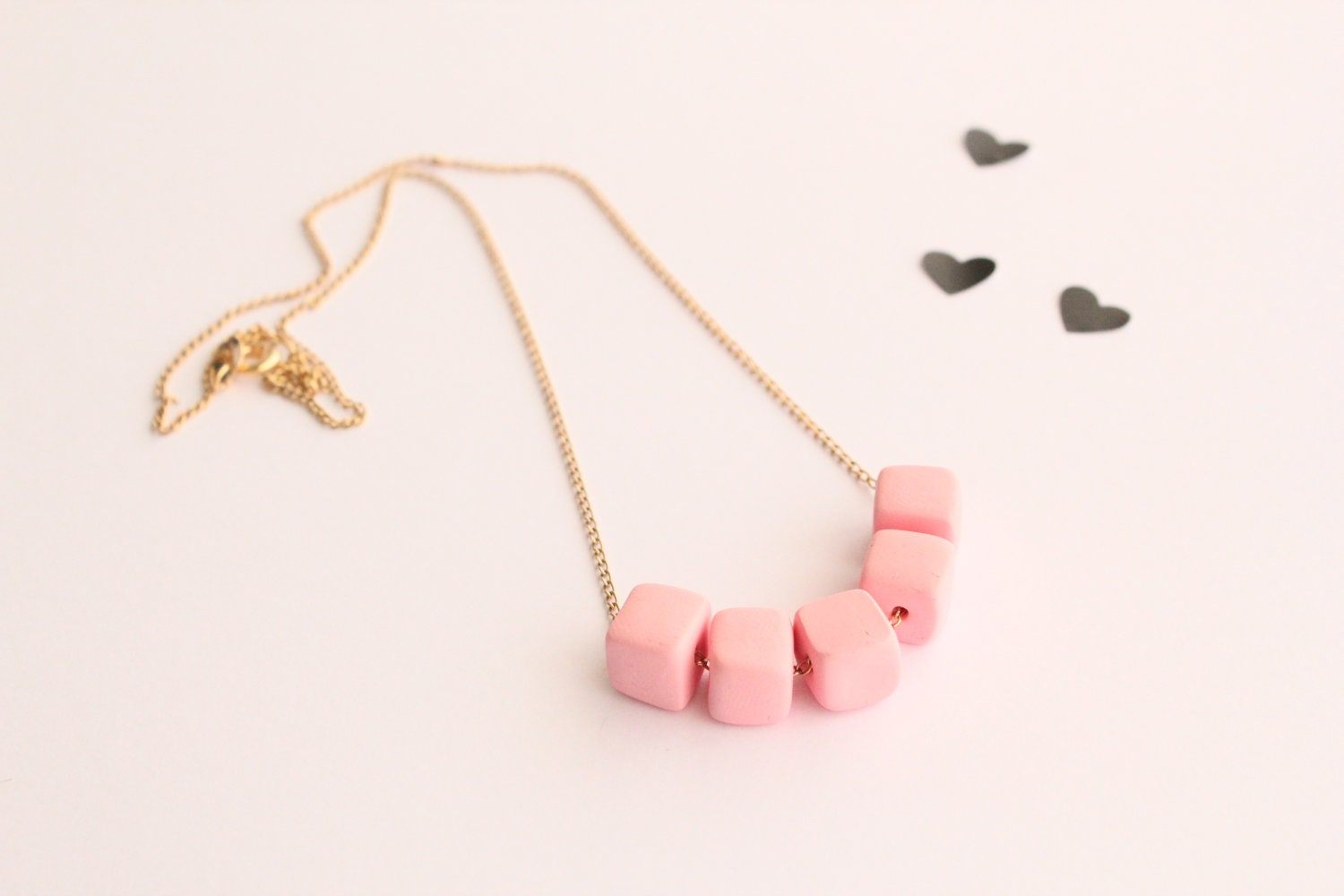 candy pink squared beaded necklace - breathehandmade