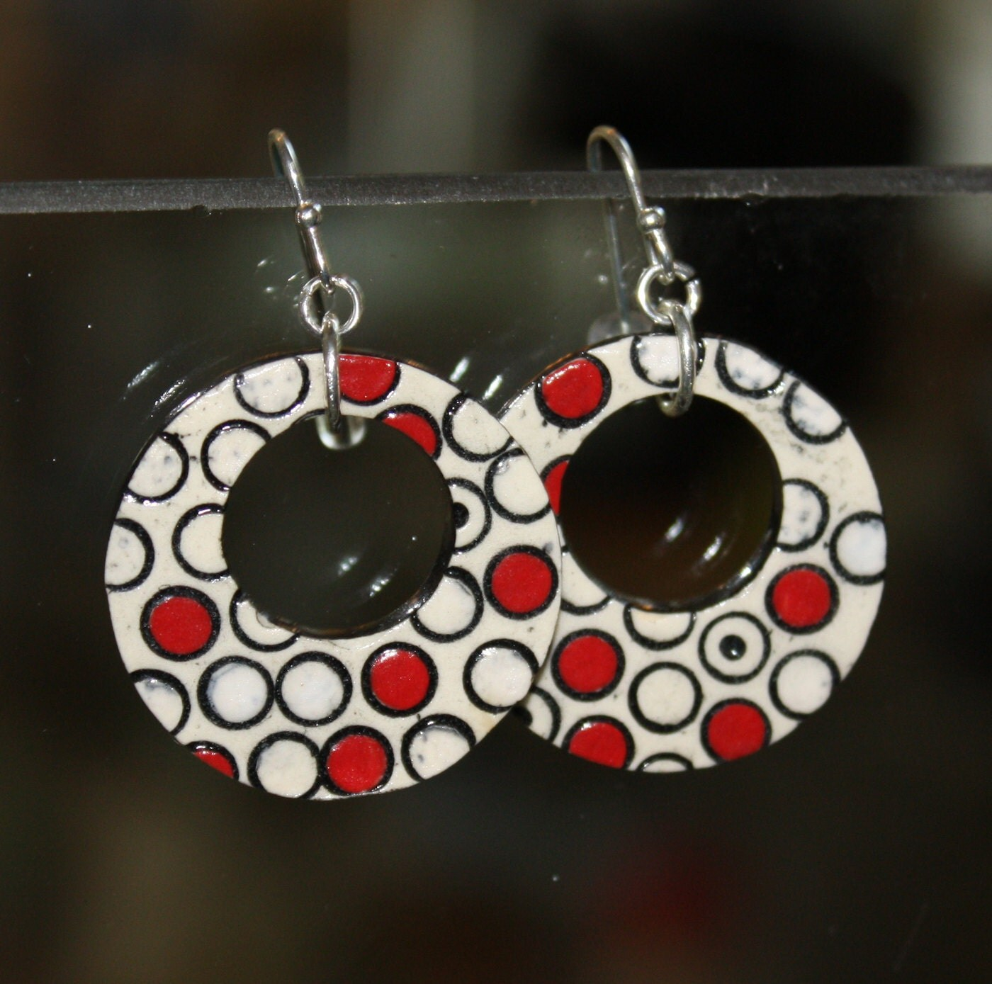 Polka Dots Handmade Ceramic Earrings