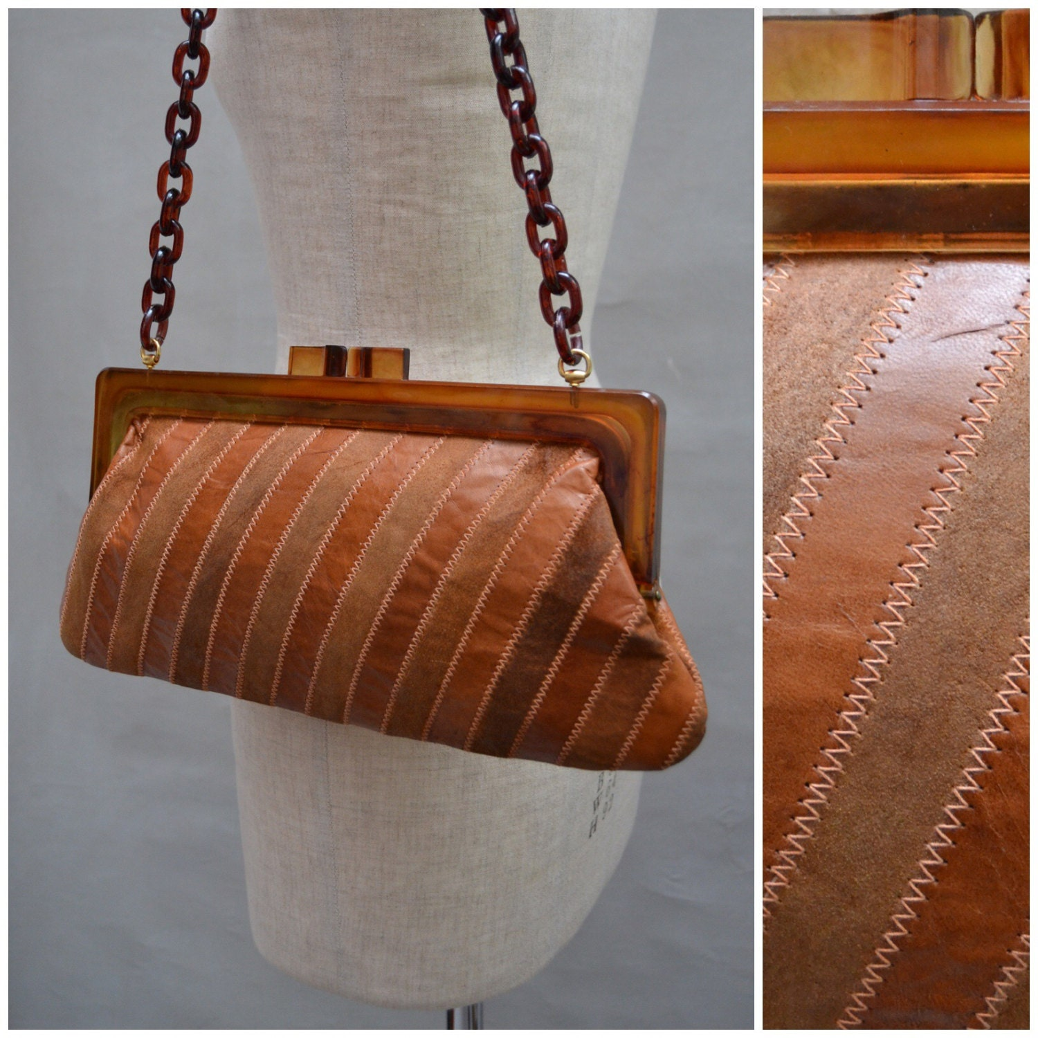 Vintage handbag 1970s hinge frame shoulder bag with chunky plastic chain strap 70s leather  suede striped Purse HippieHippyHipster