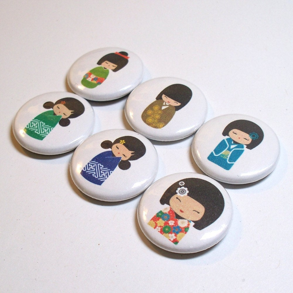 Choose 6 Kokeshi Dolls 1 inch pinback buttons