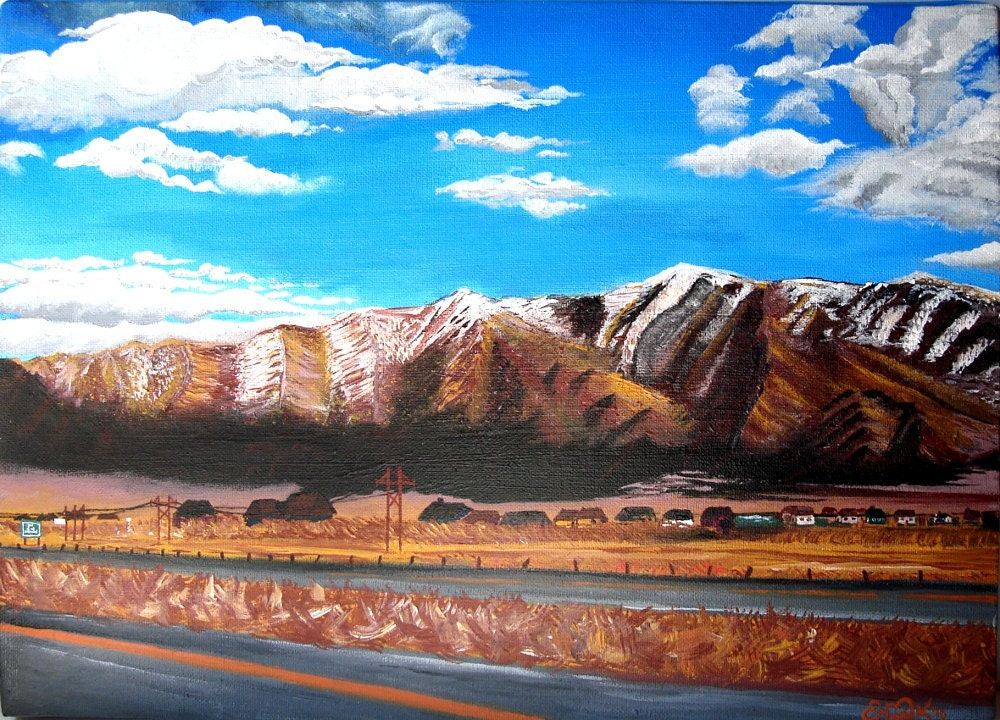Original Acrylic Painting - Beautiful Landscape Titled 8 Miles to Nevada