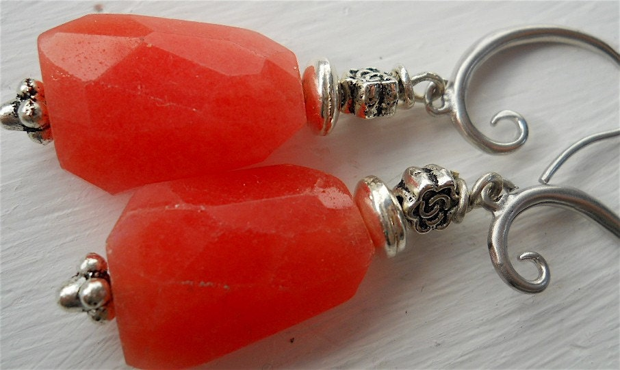 Tangerine Dream  Chalcedony and Sterling Silver by YOURDAILYJEWELS from etsy.com