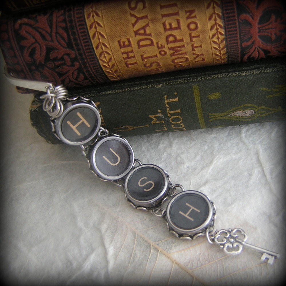 HUSH - Vintage Typewriter Key Bookmark
