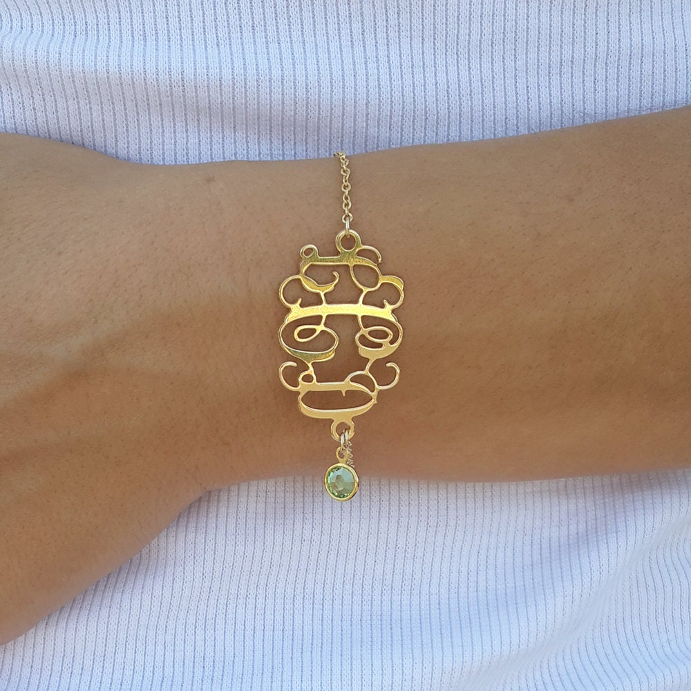 initial monogram bracelet 1 2 inch with by