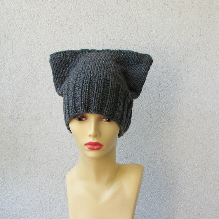 Knitting Pattern Hat With Cat Ears : Womens Hat Cat ear hat Knit Hat Cat Ears Hat by AlbadoFashion