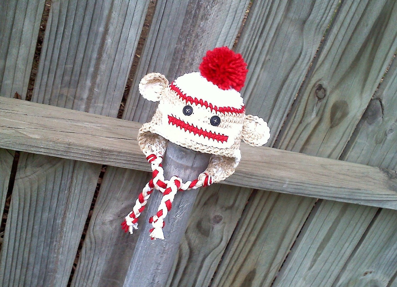 Monkey Hat Sock Earflap Beanie Cap Boy Braided Pom Pom Newborn Baby Toddler Child Crochet Handmade by Amy K