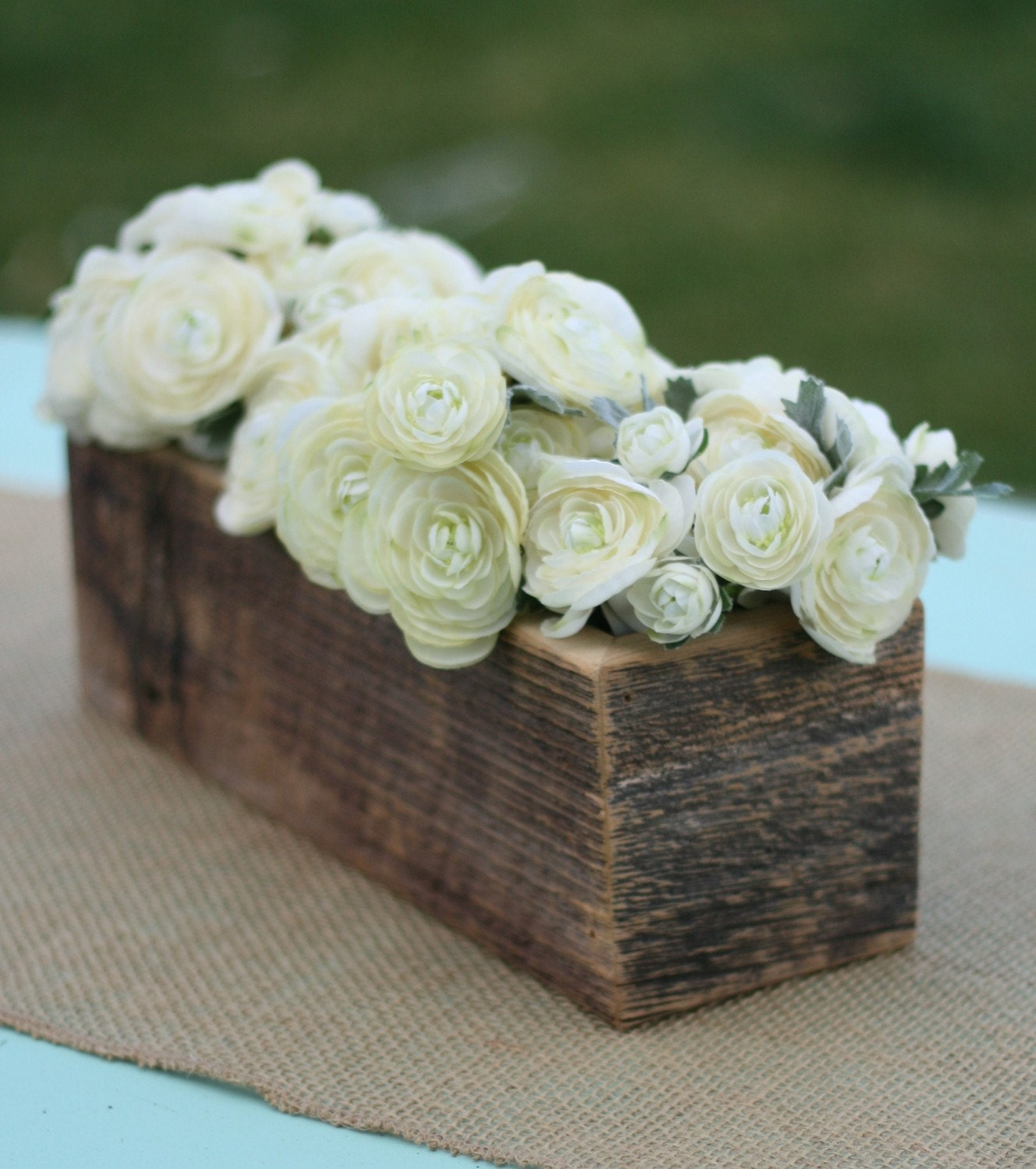 Barn Wood Vase Planter Centerpiece Flower Arrangement Holder