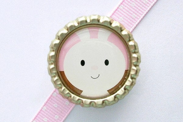 Pink and Brown Bunny Flattened Bottle Cap - Bow Supplies (FL-AN-BUN005) - Cute bow center, embellishment - flat, finished, sealed