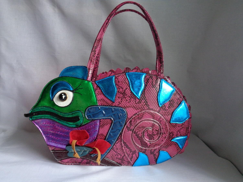 Chelise pink green blue purple metallic unique Chameleon Lizard customised cute kawaii handbag shoulder bag