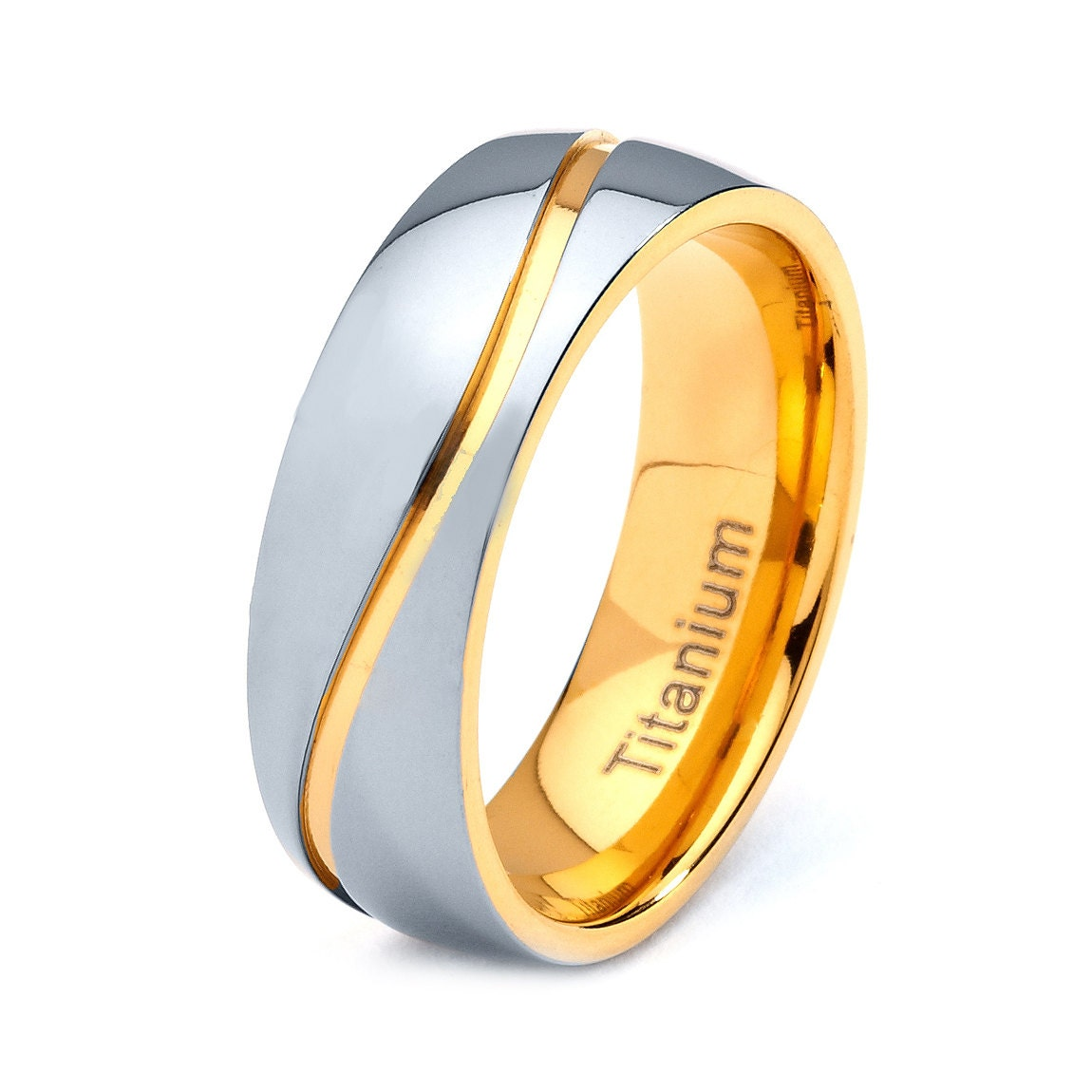mens titanium wedding band ring 8mm 8 12 sizes 18k by. Black Bedroom Furniture Sets. Home Design Ideas