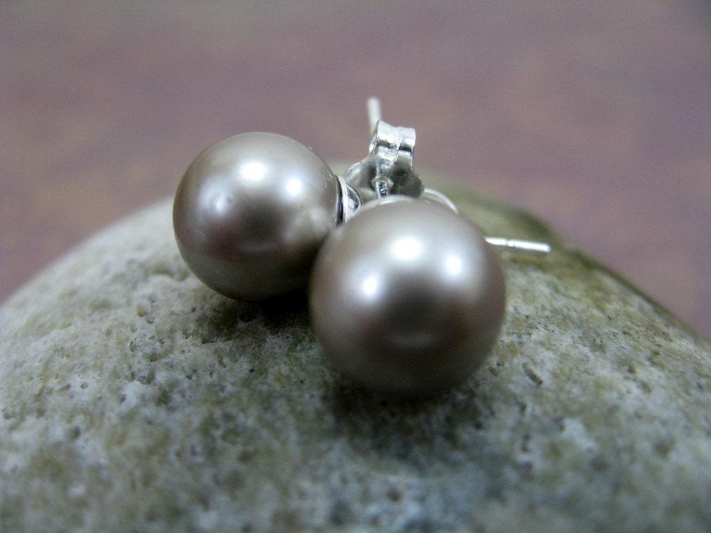 Oyster Linen - Pearl Stud Earrings, Medium 8mm, Platinum Swarovski Crystal Pearls, RiverGum Jewellery