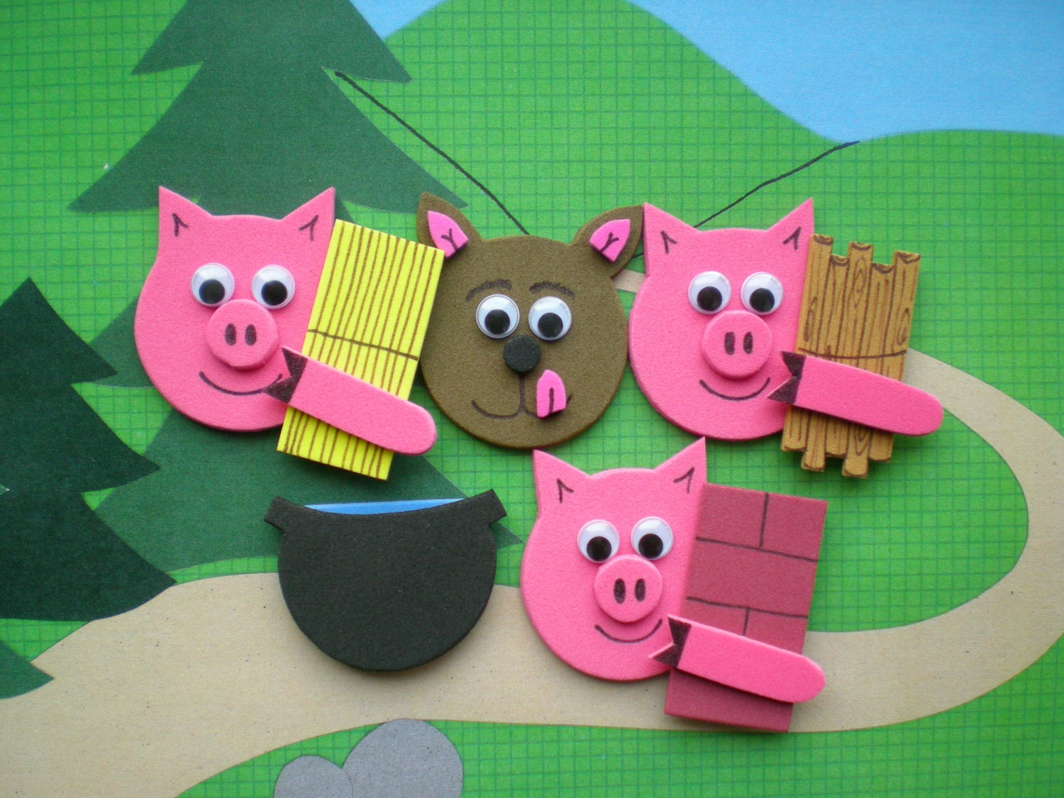 The Three Little Pigs Story Pieces , Felt Board Stories, Flannel Board Stories - SoSimpleSoSweet