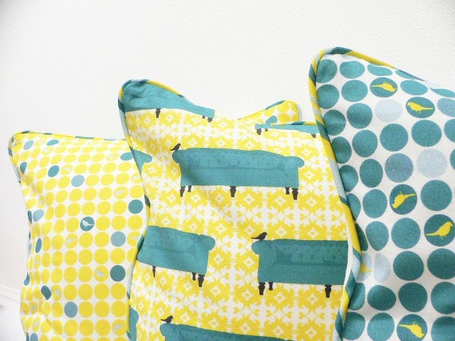 Pillow Cover  - Original Fabric - Yellow Birdie Dots