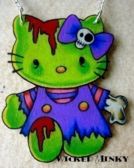 zombie hello kitty tattoo style necklace