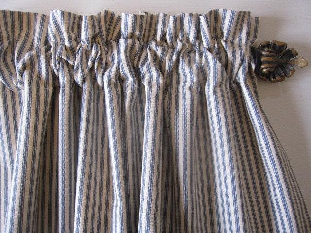 Curtain, Valance, Window Curtain, Blue Ticking Stripe Curtain Valance ...