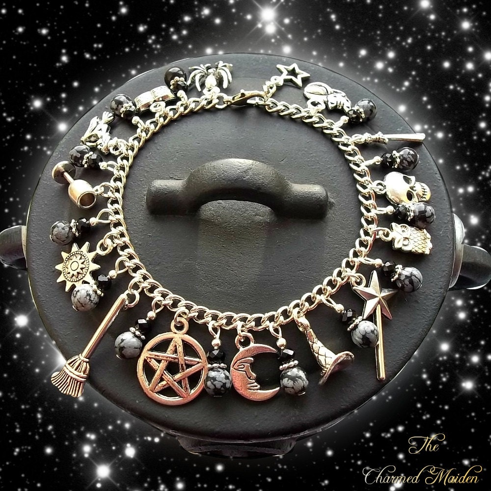 Wiccan Charm Bracelet Snowflake Obsidian Pagan Bracelet Gothic Charm Bracelet Goth Silver Charms Wicca Witch Book of Shadows Cat