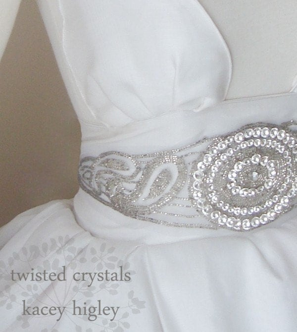 Hollywood glam wedding...  Limited vintage tulle sash applique covered with beads and fantastic vintage Swarovski crystals. The ultimate piece to complete your dress and look.