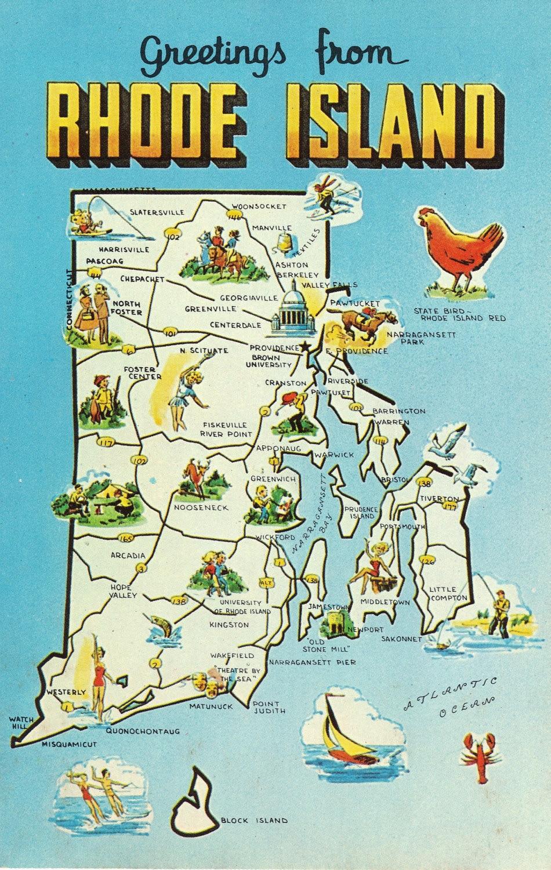 Rhode Island State Map Vintage Postcard By Heritagepostcards