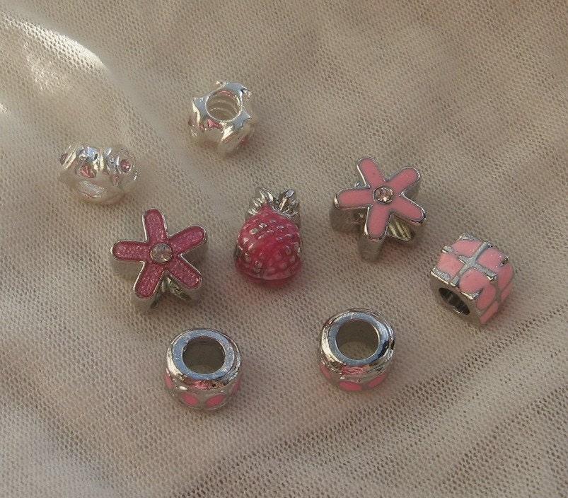 Fit Pandora Pink Metal Charms