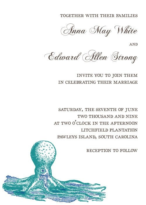 Octopus and Starfish Vintage Letterpress Style Wedding Invitation Design