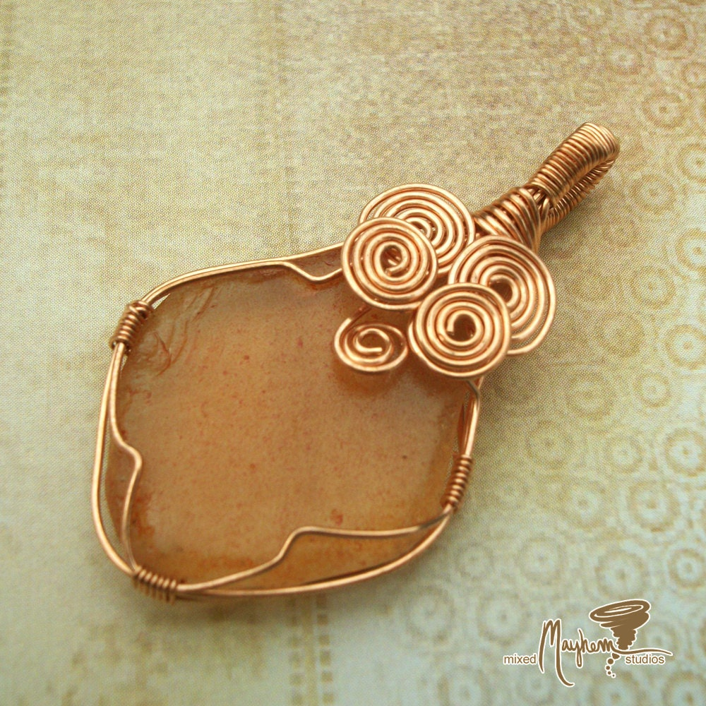 Wire Wrapped Pendant in Copper with Recycled / Upcycled Glass