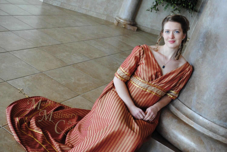 Sale Bronze Stripe Jane Austen Style Gown Dress By Mattionline
