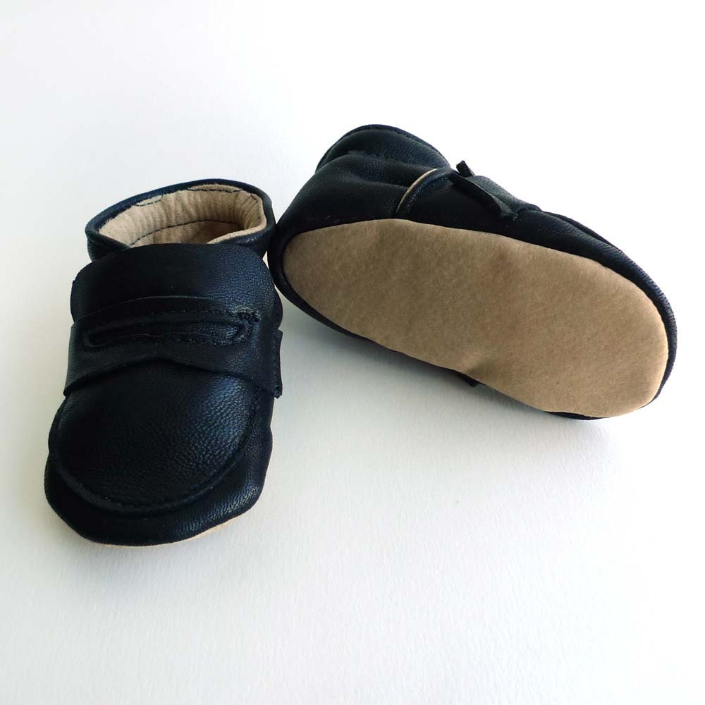Black Leather Baby Boy Shoes Loafers dress crib shoes by