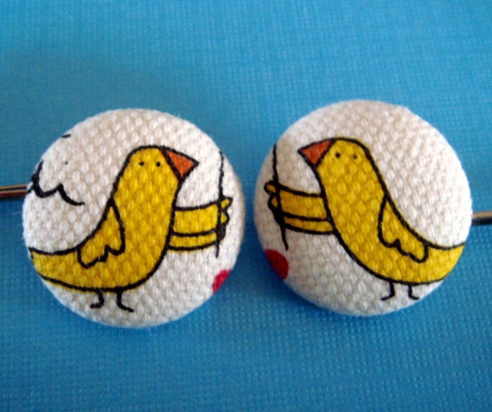 Come Fly With Me Good Friends Yellow Bird Fabric Button Bobby Pin - 2 in A Set
