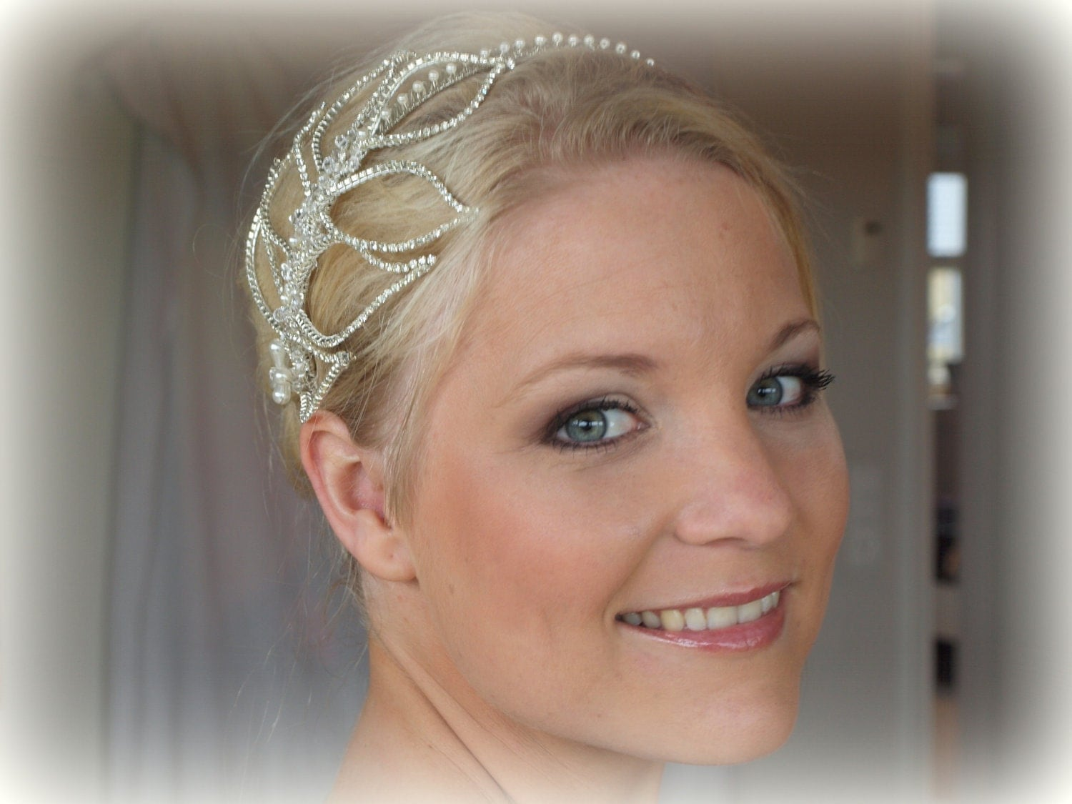 Bridal crystal side tiara - Lady Rose,stunning crystal leaves head piece