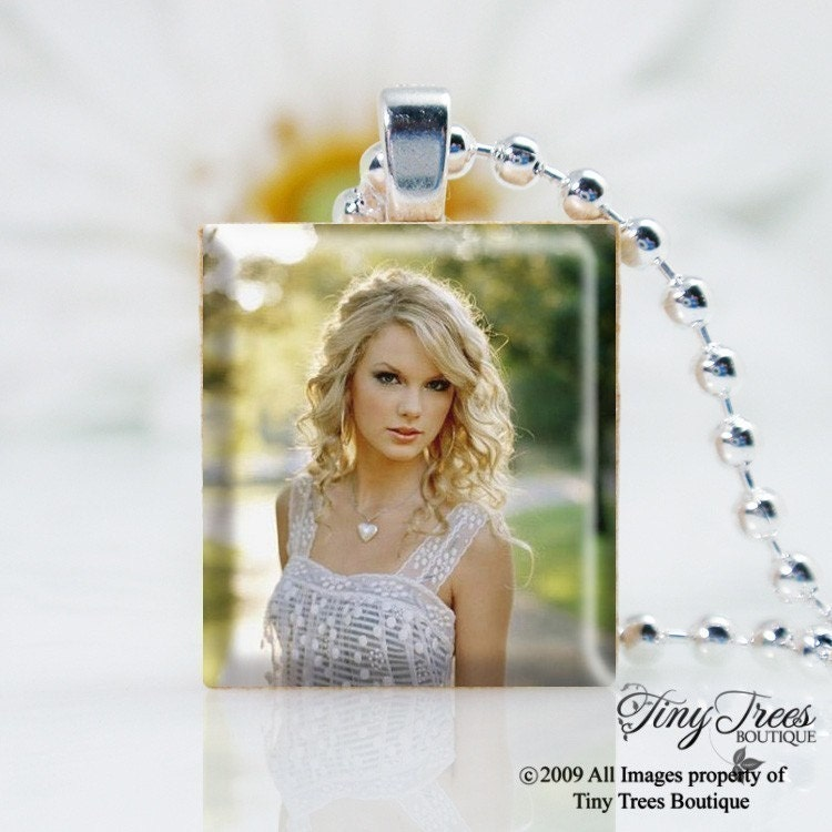 Sale -Recycled Scrabble Tile Pendant - Taylor Swift