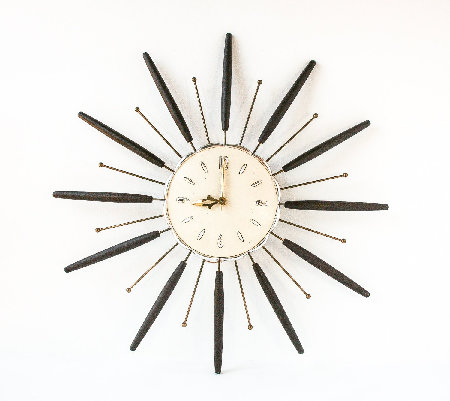 Retro Starburst Wall Decor : Vintage starburst wall clock retro mid century by