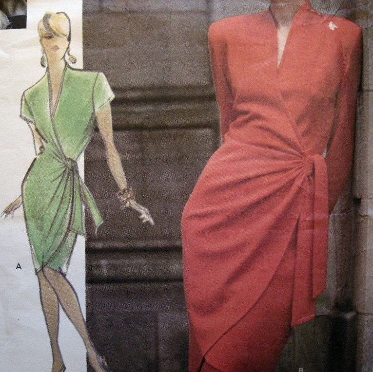 Wrap Dress on Etsy Empresspatterns Sexy Wrap Dress Vogue Attitudes Pattern 2568 Size