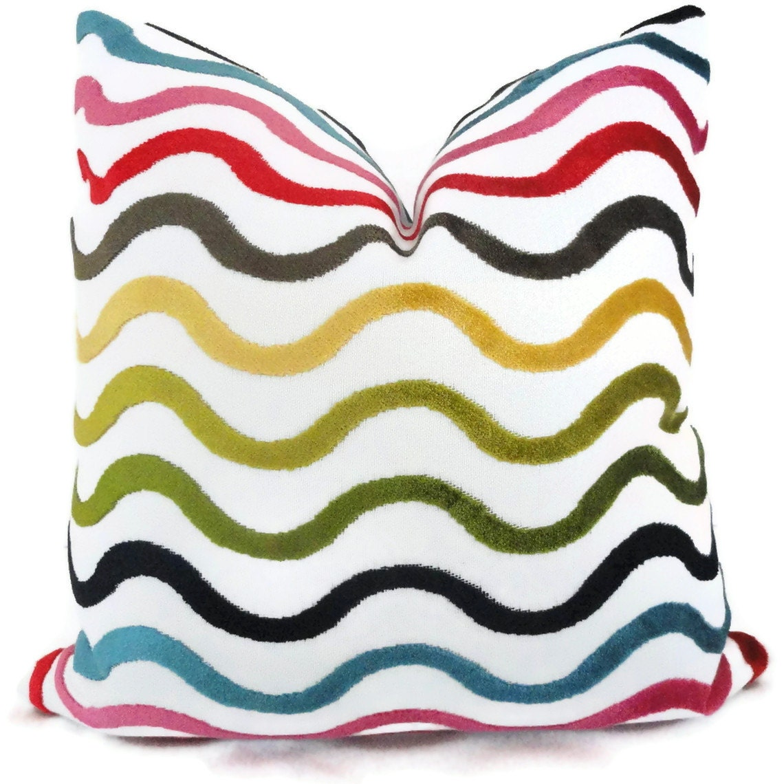 Jonathan Adler Multicolor Wavy Lines Decorative Pillow Cover, Accent Pillow, Throw Pillow, Pillow Cover