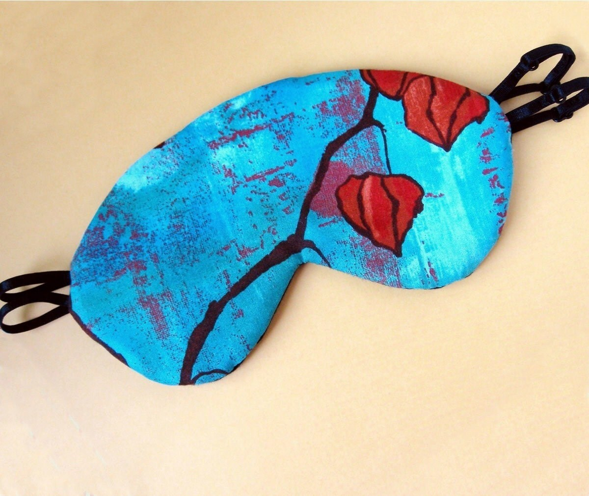 Silk Luxury Eye Mask Fully Adjustable in Red and Turquoise