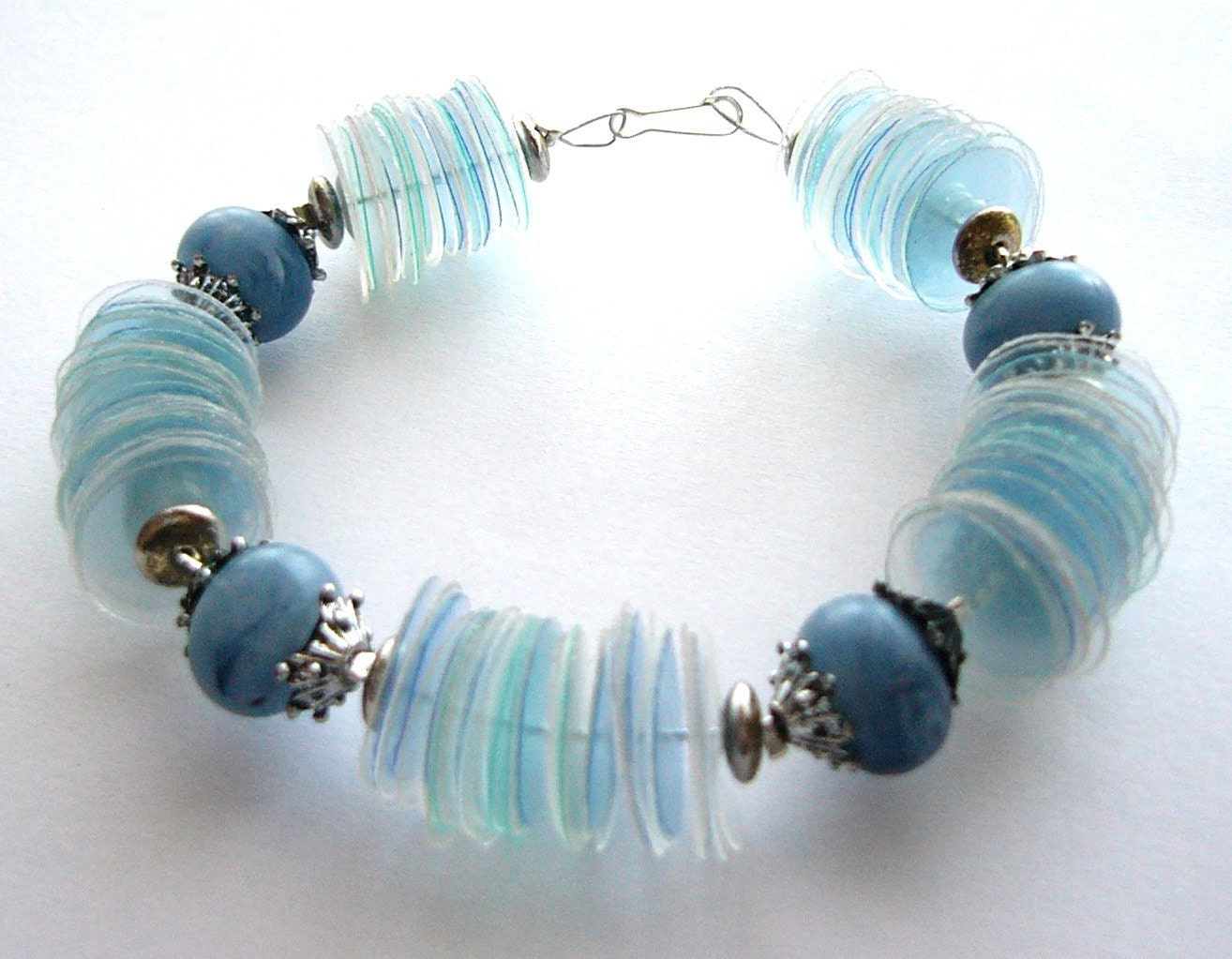 Upcycled jewelry blue bracelet made of recycled by - Plastic bottle jewelry making ...