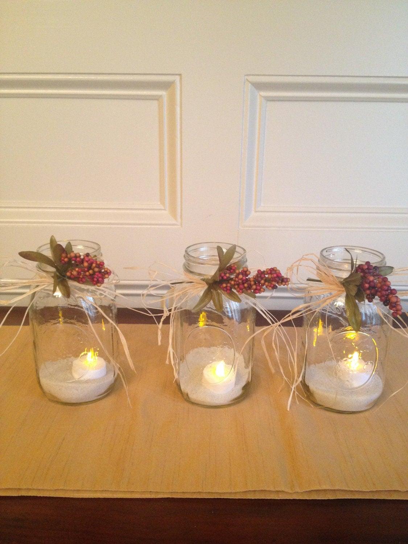 Mason Jar with Beautiful Rustic Look - Set of 3 - Wedding Centerpiece