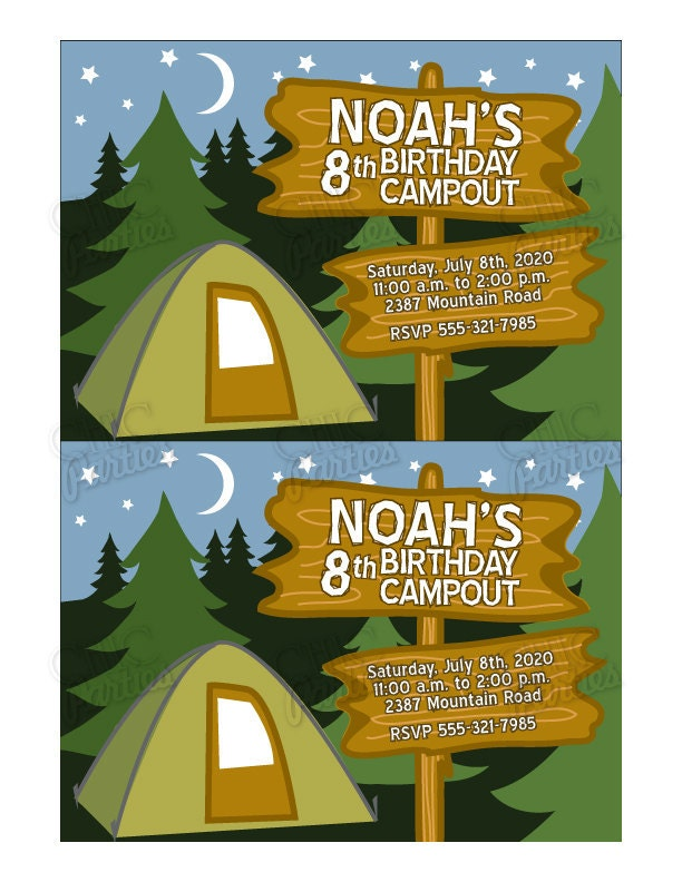 Camping Party Invitations Printable Free