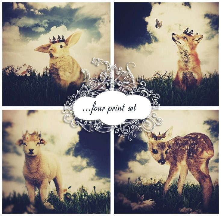 Woodland Animal Print Set - The Little Prince Collection - Four 4x6 Inch Prints