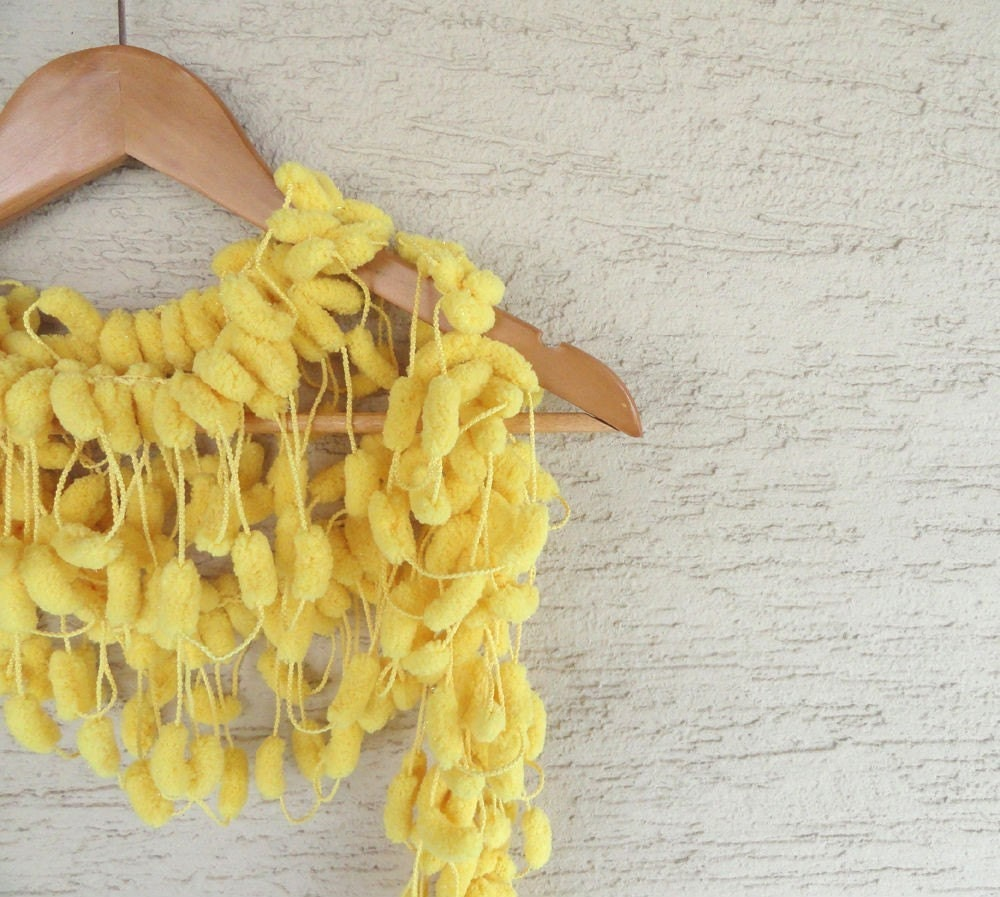 Yellow Curly Mulberry Long Scarf - Soft POMPOM Scarf sunshine, neckwarmer, cowl, necktie, mom, winter accessories, modern, christmas, thanksgiving