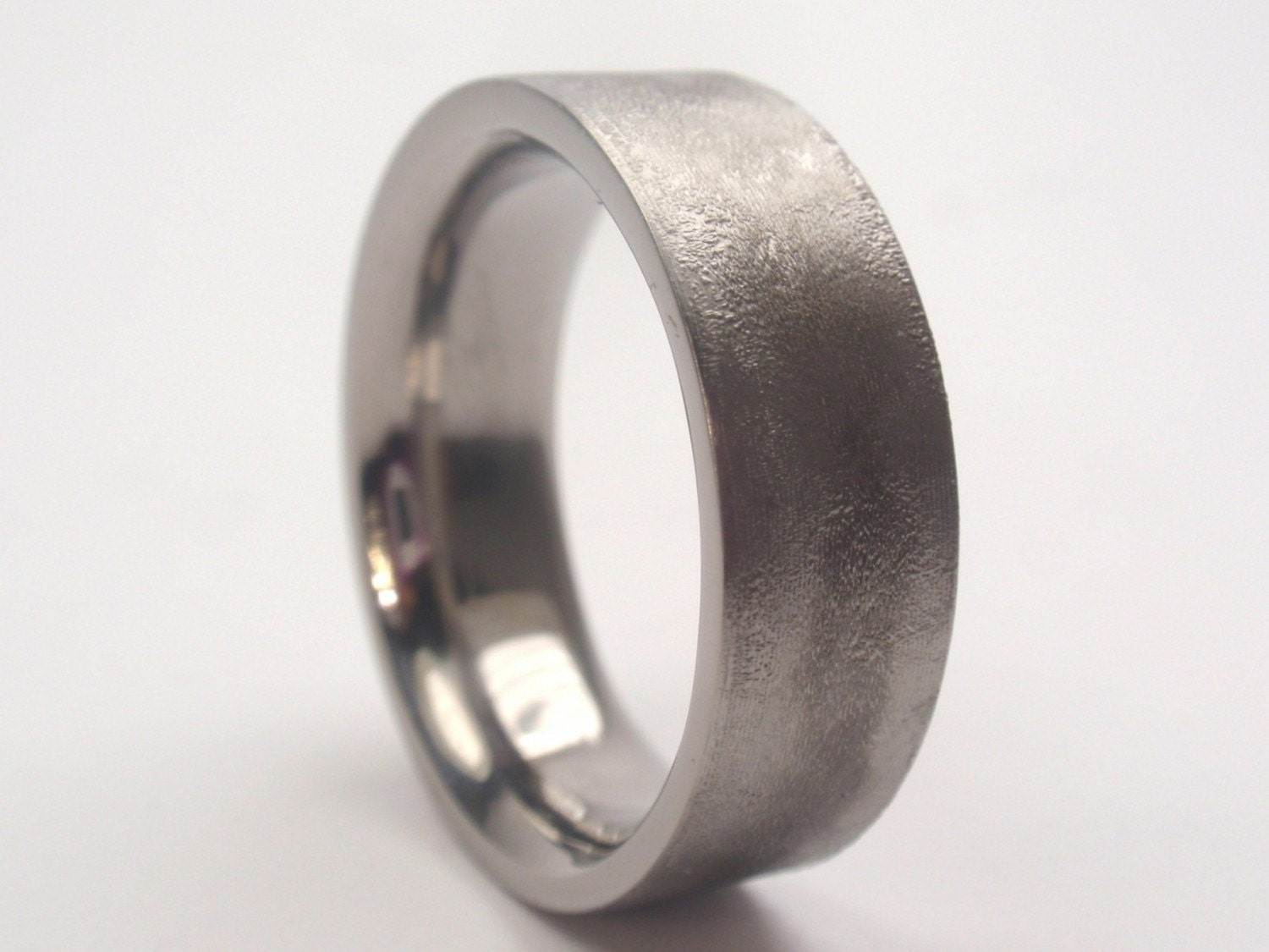 when your man goes looking for wedding etsy wedding bands Brushed Titanium Wedding Band 65