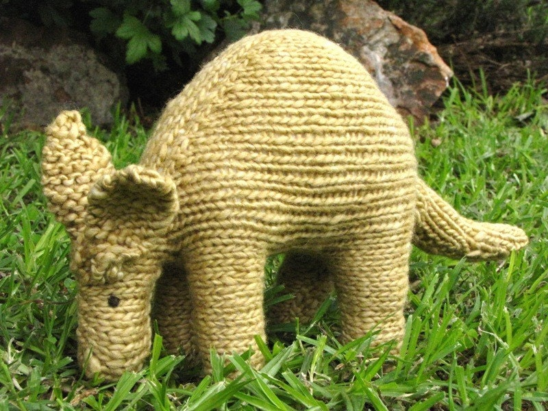South African Aardvark Knitted Toy, Merino Yarn