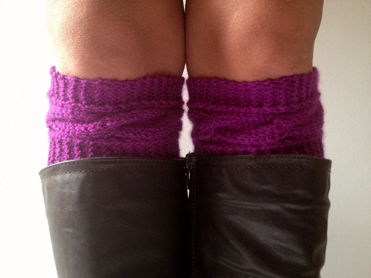 Purple Boot Liners Plum Boot Cuffs Handknit Cabled Boot Toppers - MadebyMegShop