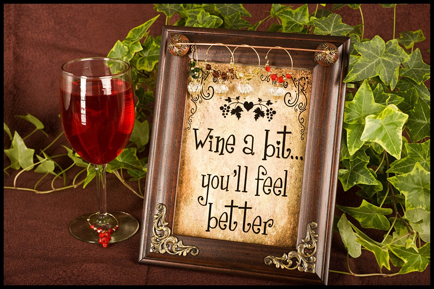 items similar to wine charm holder free charms wooden