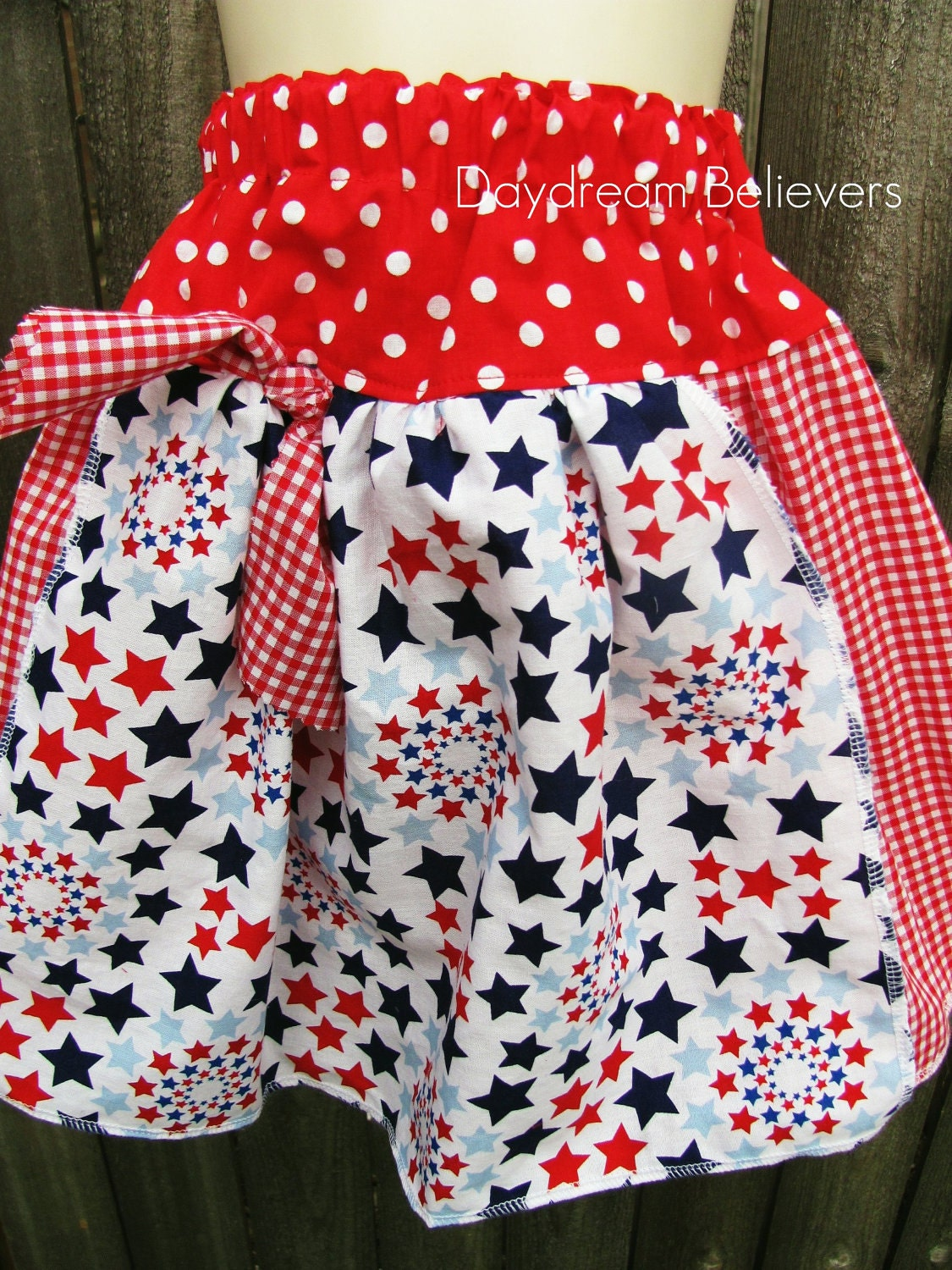 OOAK Festive Red White and Blue Skirt. Ready to Ship
