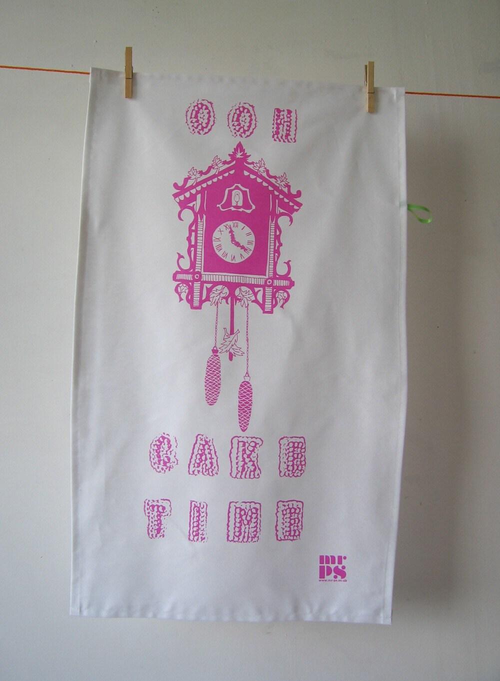 Cake Time tea towel - cerise